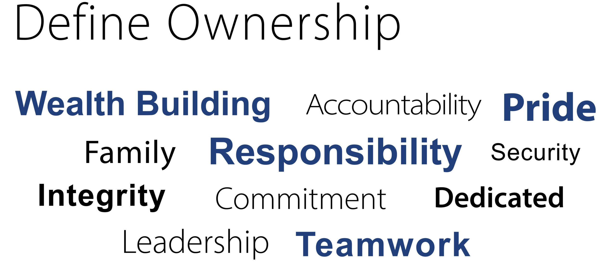 Define Ownership with employee input words LARGER